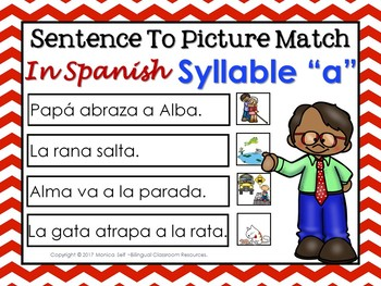 "Sentence To Picture Match In Spanish with syllable ""A"""
