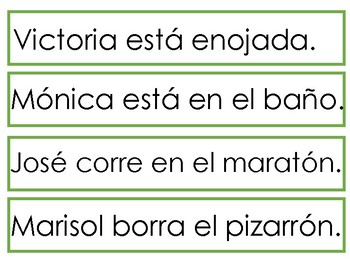"""Sentence To Picture Match In Spanish with syllables """"A,E,I, O"""""""