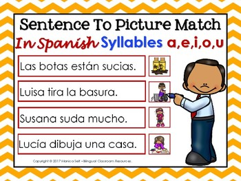 "Sentence To Picture Match In Spanish with syllables ""A,E,I,O,U"""