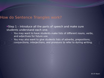 Sentence Triangle Instructions Power Point for Teachers