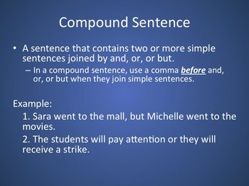 Simple and Compound Sentences/Compound Subject and Predicate PPT