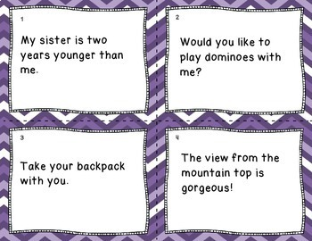 Sentence Type Cooperative Learning Task Cards