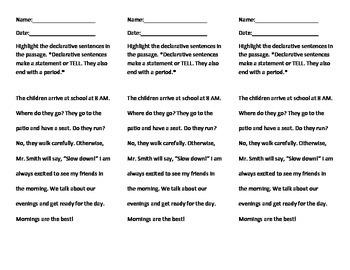 Sentence Type Homework