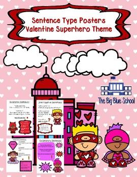 Sentence Type Posters Valentines Superhero Theme