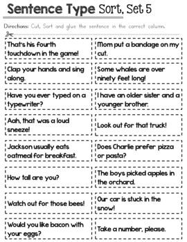 Sentence Type Sort - Fifth Set