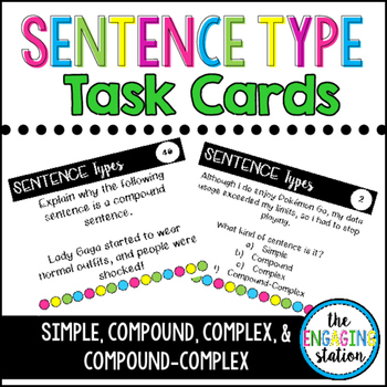 48 Sentence Type Task Cards with Pop Culture References