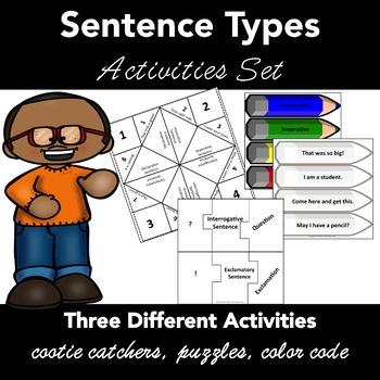 Sentence Types Activities: Cootie Catchers, Puzzles, Color Sentences  CC L.1.1.J