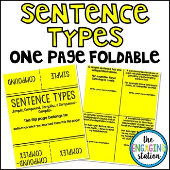 Sentence Types One Page Foldable
