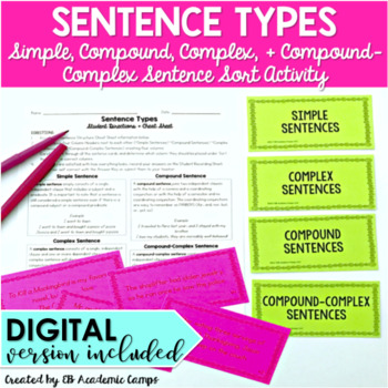 Sentence Types Sort Activity {Simple, Compound, Complex, & Compound-Complex}