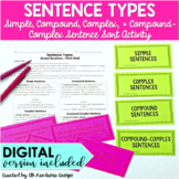 Sentence Types Activity DIGITAL and PRINT