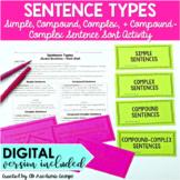 Sentence Types Activity {Simple, Compound, Complex, & Comp