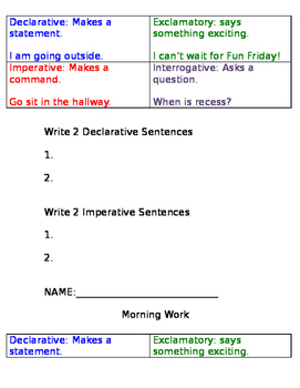 Sentence Types Morning Work