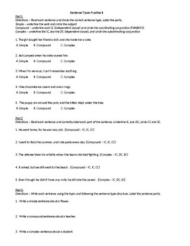Sentence Types (Notes, Practice, Test)