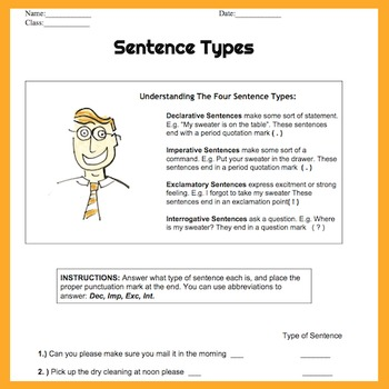 Sentence Types Practice Worksheet Handout Quiz and Lesson