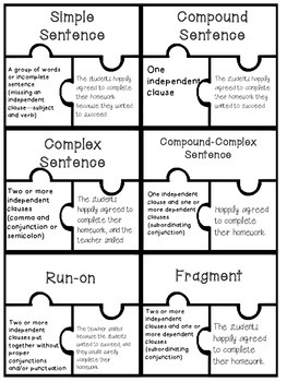 sentence types puzzle piece activity ccss simple compound complex