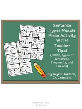 Sentence Types Puzzle Piece Activity {CCSS: Simple, Compou