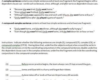 Sentence Types Review - Simple, Compound, Complex