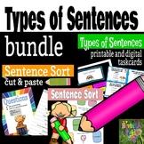 Sentence Types - Sentence Sort and Task Card Bundle- BOOM Cards
