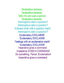 Sentence Types Song (Declarative, Imperative, Interrogative, Exclamatory