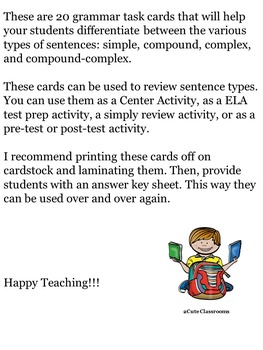 Sentence Types Task Cards/Game Cards for Middle School Students