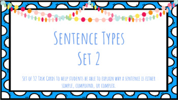 Sentence Types Task Cards Set 2