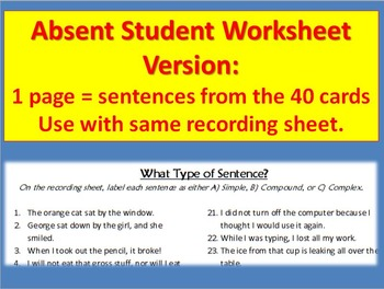 Sentence Structure Task Cards: Simple, Compound, Complex Sentence Types