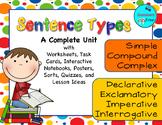 Sentence Types - declarative, interrogative, imperative, e