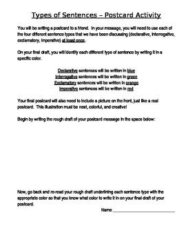 Sentence Types postcard project
