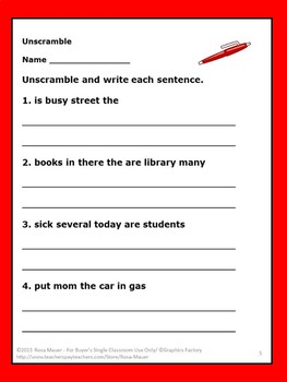 Sentences Unscramble Task Cards