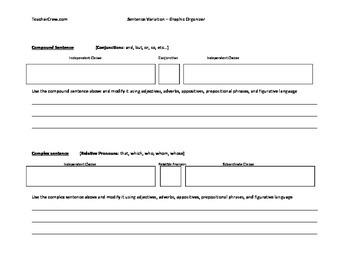 Sentence Variation Graphic Organizer