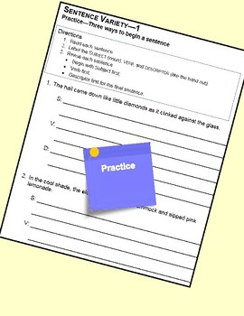 Using Sentence Variety to Revise---4th - 8th Grades