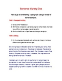 Sentence Variety Game - 10 Sided Dice - Paragraph Writing