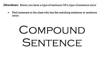 Sentence Variety Matching Activity- EOC Readiness Standard