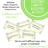 Sentence Variety Matching Activity- EOC Readiness Standard