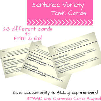 Sentence Variety Task Cards- EOC Readiness Standard
