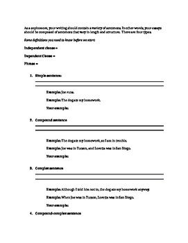 Sentence Variety and Commas Rules Graphic Organizer/Guided Notes