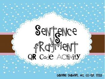 Sentence Vs. Fragment QR Code Activity