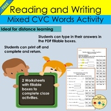 Sentence Work Phonics CVC Words Cloze Worksheet Activity D