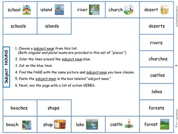Sentence Writing Activity - Cut and Paste: Places