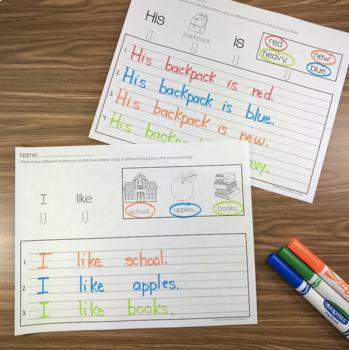 Sentence Writing / Back to School/ Fall