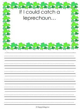 St Patrick's Day Writing Prompts and Story Starters Writing Paper and Checklist
