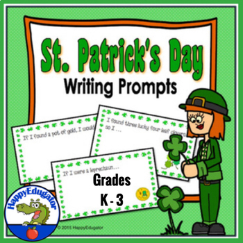 St. Patrick's Day Writing Prompts on Lined Paper with Editing Checklist  No Prep