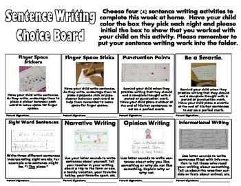Sentence Writing Choice Board