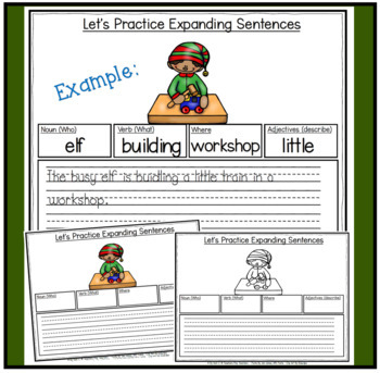 Expanding Sentences-Christmas (Using Adjectives, Nouns, Verbs and Setting)
