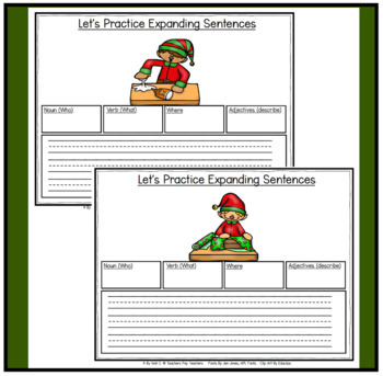 Parts of Speech:  Expanding Sentences during Christmas for K-2