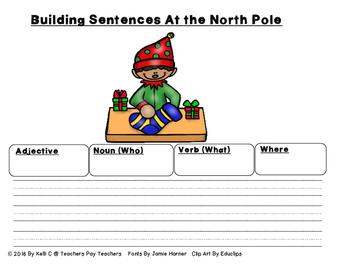 Sentence Writing- Christmas Edition (Using Adjectives, Nouns, Verbs and Setting)