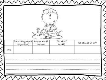 Sentence Writing Graphic Organizer Pack