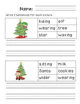 First Grade Sentence Writing Pack- Christmas Theme