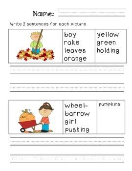 First Grade Sentence Writing Pack- Fall Theme
