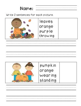 First Grade Sentence Writing Pack- Fall Theme